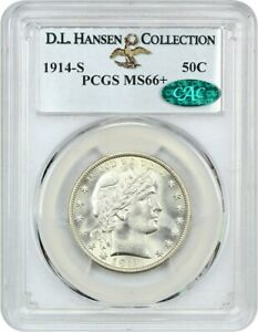Click now to see the BUY IT NOW Price! 1914 S 50C PCGS/CAC MS66  EX: D.L. HANSEN COLLECTION   REGISTRY QUALITY