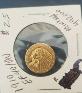VERY NICE 1910 INDIAN HEAD GOLD QUARTER EAGLE ONLY 492K MINTED $2.50