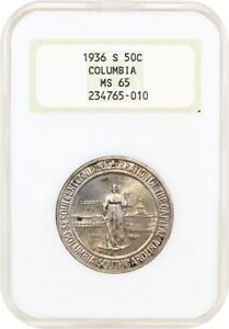 1936 S COLUMBIA 50C NGC MS65  OH    LOW MINTAGE ISSUE OLD NGC HOLDER