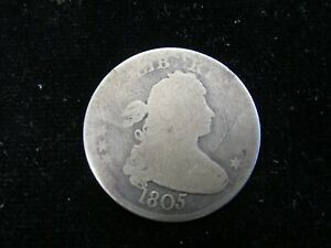 1805 UNITED STATES DRAPED BUST SILVER QUARTER AG