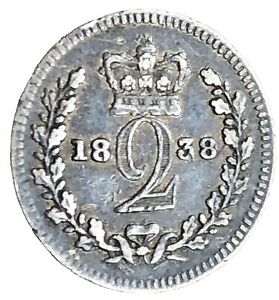 1838 SILVER TWO PENCE MAUNDY QUEEN VICTORIA KM 729 NICE COIN