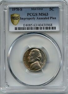 1970 S 5 IMPROPERLY ANNEALED PLAN PCGS MS 63