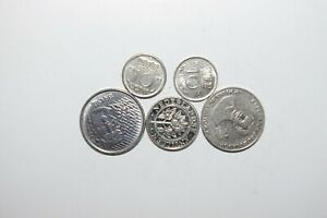 WORLD COINS GREAT GP. FROM ALLOVER LOT OF 5 COINS W/ UNC OR HIGH GRADE VALUE B64