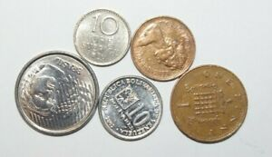 WORLD COINS GREAT GP. FROM ALLOVER LOT OF 5 COINS W/ UNC OR HIGH GRADE VALUE B4