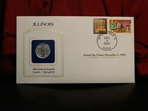 2003 ILLINOIS STATE QUARTER COLORIZED W/ USPS STATE STAMP. GREAT OFFICE GIFT.