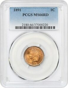 Click now to see the BUY IT NOW Price! 1891 1C PCGS MS66 RD   INDIAN CENT   SPARKLING BETTER DATE GEM