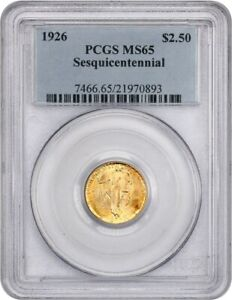 1926 SESQUICENTENNIAL $2 1/2 PCGS MS65   CLASSIC COMMEMORATIVE   GOLD COIN