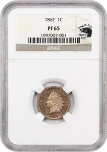 1862 1C NGC PR 65   COPPER NICKEL PROOF TYPE COIN   INDIAN CENT