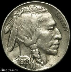 1929 S INDIAN HEAD BUFFALO NICKEL   XF LY FINE   US COIN A SKU 1621