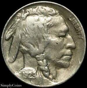 1929 S INDIAN HEAD BUFFALO NICKEL   XF LY FINE   US COIN A SKU 1624