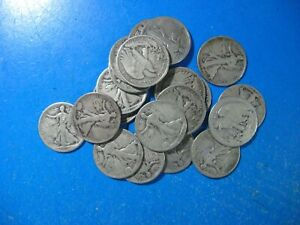 WALKING HALF 1917 TO 1929 P D S MINTS ABOUT 40  MINT MARKED ROLL OF 20 COINS