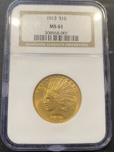 C13107  1913 $10 INDIAN GOLD EAGLE NGC MS61 308568 001