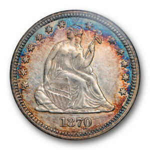 1870 25C SEATED LIBERTY QUARTER ANACS AU 50 ABOUT UNCIRCULATED COLORFUL TONED