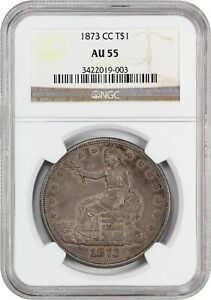 1873 CC TRADE$ NGC AU55   TOUGH CARSON CITY ISSUE   US TRADE DOLLAR