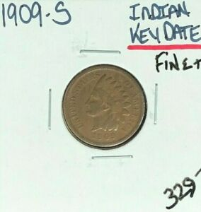 1909 S INDIAN HEAD CENT   FINE   NICE COIN  KEY DATE
