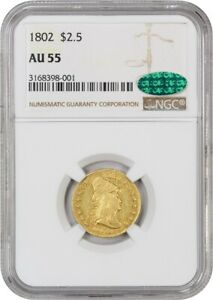 1802 $2 1/2 NGC/CAC AU55    EARLY GOLD TYPE   2.50 EARLY GOLD COIN