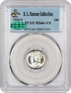 Click now to see the BUY IT NOW Price! 1928 S 10C PCGS/CAC MS66  FB EX: D.L. HANSEN   REGISTRY QUALITY GEM