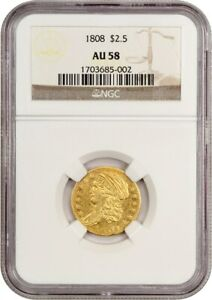 Click now to see the BUY IT NOW Price! 1808 $2 1/2 NGC AU58   2.50 EARLY GOLD COIN   BEAUTIFUL RARITY