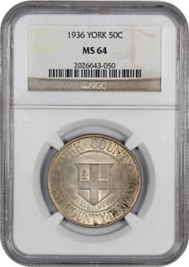1936 YORK 50C NGC MS64   SILVER CLASSIC COMMEMORATIVE