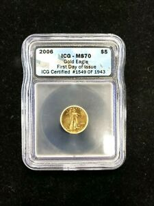 2006 $5 AMERICAN GOLD EAGLE ICG MS70 FDOI