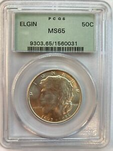 1936 ELGIN COMMEMORATIVE SILVER HALF DOLLAR  PCGS MS65
