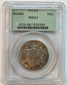1920 MAINE COMMEMORATIVE SILVER HALF DOLLAR  PCGS MS64