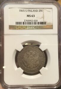 Click now to see the BUY IT NOW Price! RUSSIA FINLAND 1865 2 MARKKAA NGC MS63
