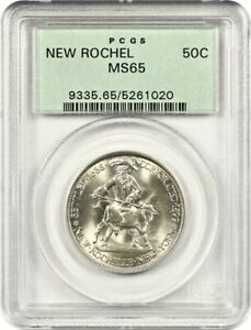 1938 NEW ROCHELLE 50C PCGS MS65   LOW MINTAGE ISSUE   OLD GREEN LABEL HOLDER