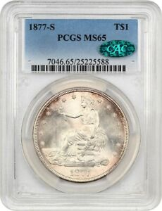 1877 S TRADE$ PCGS/CAC MS65   GREAT TYPE COIN   US TRADE DOLLAR