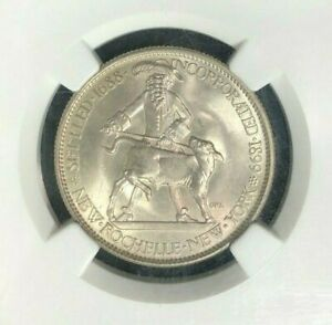 1938 NEW ROCHELLE COMMEMORATIVE SILVER HALF   NGC MS 64  BEAUTIFUL COIN