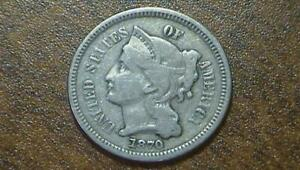 1870 3 CENT NICKEL PROBLEM FREE ORIGINAL PATINA FAST SHIPPING SEE PICS