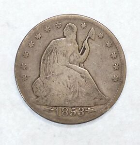1853 LIBERTY SEATED SILVER HALF DOLLAR WITH ARROWS & RAYS GOOD