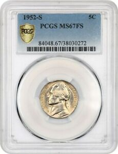Click now to see the BUY IT NOW Price! 1952 S 5C PCGS MS67 FS   JEFFERSON NICKEL   FINEST KNOWN