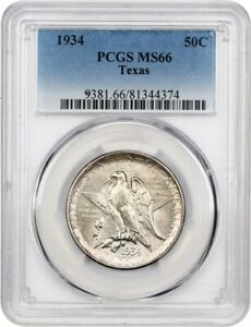 1934 TEXAS 50C PCGS MS66   SILVER CLASSIC COMMEMORATIVE