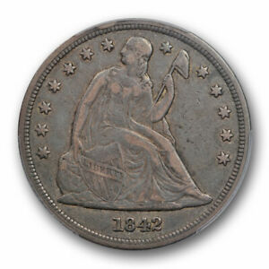 1842 $1 SEATED LIBERTY DOLLAR PCGS VF 35 FINE CAC APPROVED ORIGINAL