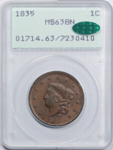 Click now to see the BUY IT NOW Price! 1835 1C SMALL 8 STARS CORONET HEAD LARGE CENT PCGS MS 63 BN RATTLER CAC APPR