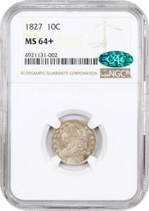 1827 10C NGC/CAC MS64  LOVELY TYPE COIN   BUST DIME   LOVELY TYPE COIN