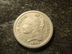 1882 VF THREE CENT NICKEL 3 CN NICE LOOKING LIBERTY MSX