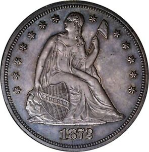 C12909  1872 PROOF SEATED LIBERTY DOLLAR NGC PR63   950 MINTED