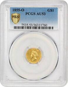 1855 O G$1 PCGS AU53  TYPE 2   GOLD DOLLAR FROM NEW ORLEANS   1 GOLD COIN