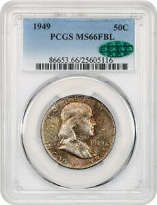 1949 50C PCGS/CAC MS66 FBL   RAINBOW OBVERSE TINTS   FRANKLIN HALF DOLLAR