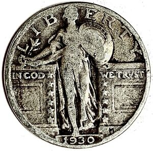 1930 UNITED STATES SILVER STANDING LIBERTY QUARTER   VG