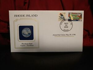 2001 RHODE ISLAND STATE QUARTER COLORIZED W/ USPS STATE STAMP