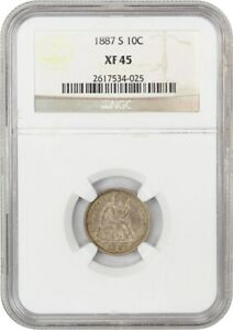 1887 S 10C NGC XF45   LIBERTY SEATED DIME