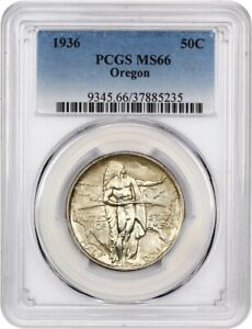 1936 OREGON 50C PCGS MS66   LOW MINTAGE ISSUE   SILVER CLASSIC COMMEMORATIVE