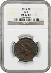1833 1C NGC MS63 BN  N 2    CORONET HEAD LARGE CENTS  1816 1839