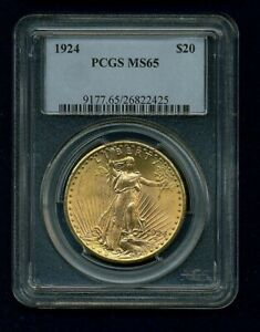 1924 $20 ST. GAUDENS DOUBLE EAGLE GOLD COIN UNCIRCULATED PCGS CERTIFIED MS65