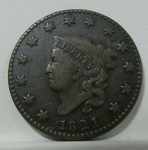 1821 CORONET HEAD LARGE CENT FINE 1C   DESIRABLE DATE