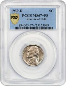 Click now to see the BUY IT NOW Price! 1939 D 5C PCGS MS67  FS  REVERSE OF 1940  REGISTRY QUALITY    JEFFERSON NICKEL