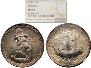 Click now to see the BUY IT NOW Price! BEAUTIFULLY TONED 1921 PILGRIM 50C COMMEMORATIVE HALF DOLLAR NGC MS 67
